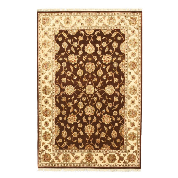 "Hand-knotted Wool & Silk Brown Traditional Oriental Flower Jaipur Rug (5'11 x 8'11) - 5'10"" x 8'10"""