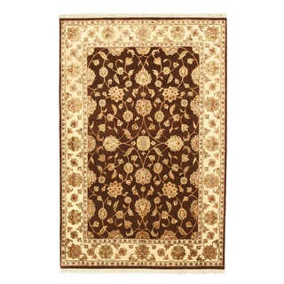EORC Hand Knotted Wool & Silk Brown Flower Jaipur Rug (5'11 x 8'11)