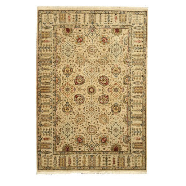 """Hand-knotted Wool Ivory Traditional Oriental Jaipur Rug - 6' x 9'3"""""""