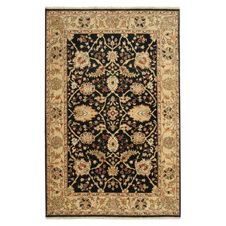 Hand-knotted Wool Black Traditional Oriental Agra Rug (6' x 9')