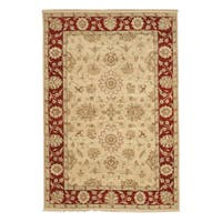 "Hand-knotted Wool Beige Traditional Oriental Agra Rug - 5'8"" x 8'1"""