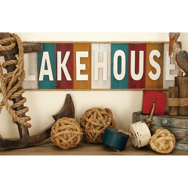 Lake House Written Wood Rope Wall Decor