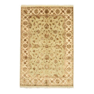 EORC Hand Knotted Wool & Silk Green Flower Jaipur Rug (6' x 9'1)