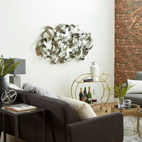 Contemporary 32 Inch Abstract Iron Curled Bands Wall Art by Studio 350