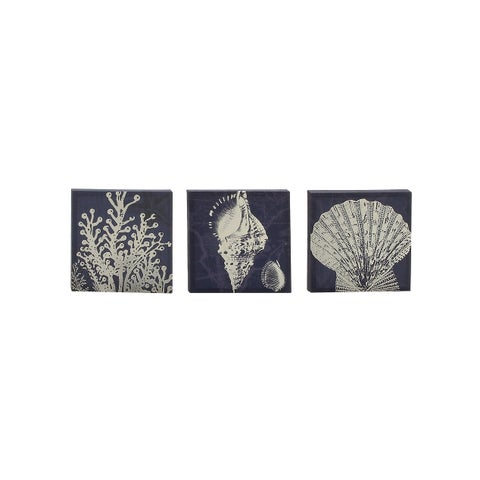 Set of 3 Coastal 12 Inch Wooden-Framed Canvas Wall Art by Studio 350 - Blue