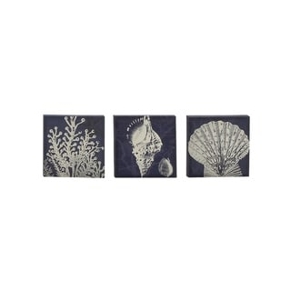 Set of 3 Coastal 12 Inch Wooden-Framed Canvas Wall Art by Studio 350 - Blue/White