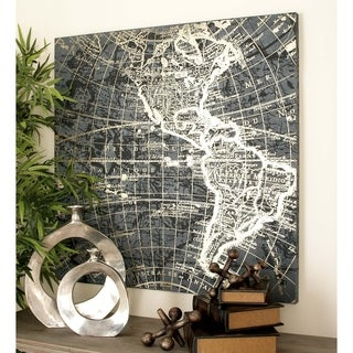Traditional 39 x 39 inch World Map on Canvas Wall Art by Studio 350 - Black