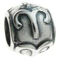 Queenberry Sterling Silver Round Aries Zodiac European Bead Charm