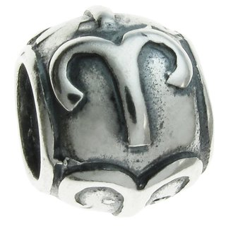 Queenberry Sterling Silver Round Aries Zodiac European Bead Charm