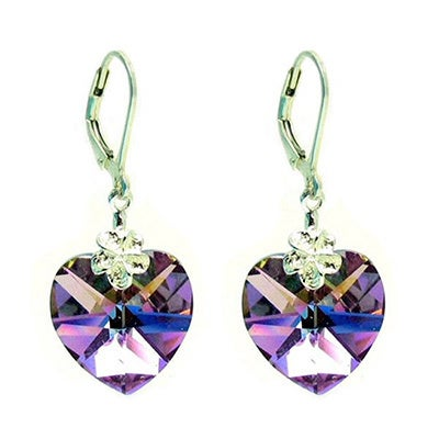 Queenberry Sterling Silver Vitrail Light Purple Faceted H...