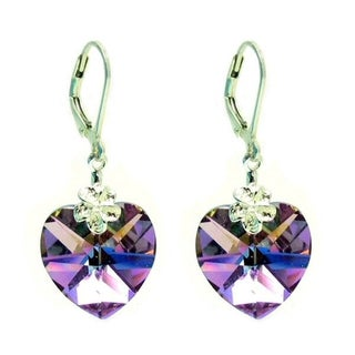 Queenberry Sterling Silver Vitrail Light Purple Faceted Heart Crystal Leverback Dangle Earrings