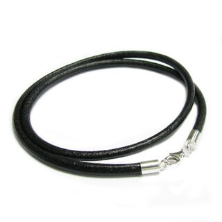 Queenberry Sterling Silver Black Genuine Leather Cord 3mm Choker Necklace