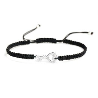 Queenberry Sterling Silver Cubic Zirconia Key Bracelet with Black Hand-braided Adjustable Cord