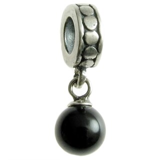 Queenberry Sterling Silver Crystal Mystic Black Pearl Dangle European Bead Charm