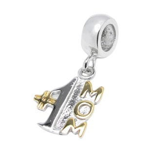 Queenberry 14k Goldplated Sterling Silver Number One Mom Dangle European Bead Charm