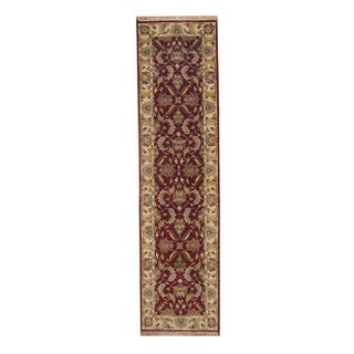 Herat Oriental Indo Hand-knotted Mahal Red/ Ivory Wool Rug (2'7 x 9'10)