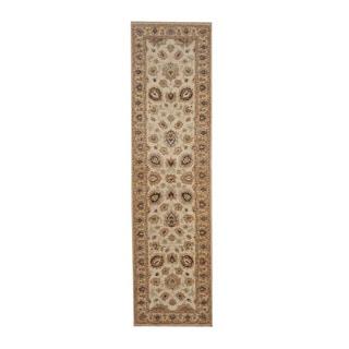 Herat Oriental Indo Hand-knotted Tabriz Ivory/ Beige Wool Rug (2'7 x 9'9)