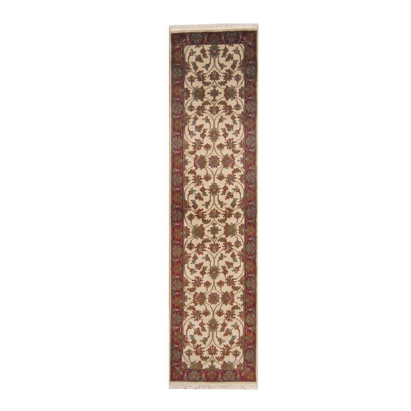 Herat Oriental Indo Hand-knotted Mahal Ivory/ Red Wool Rug (2'6 x 9'10)