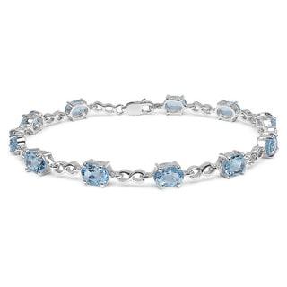 Malaika Sterling Silver 11ct Blue Topaz Bracelet
