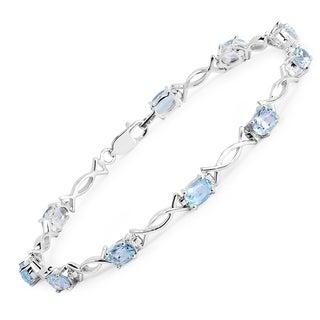 Olivia Leone Sterling Silver 6 1/2ct Blue Topaz Bracelet