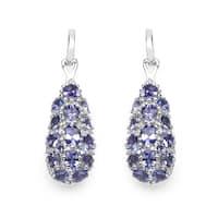 Malaika 3.32 Carat Genuine Tanzanite .925 Sterling Silver Earrings
