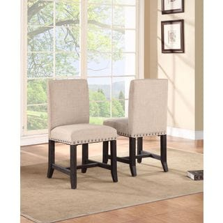 Industrial Nailhead Linen Dining Chair (Set of 2)