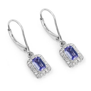 Malaika 1.48 Carat Tanzanite and White Topaz Earrings in .925 Sterling Silver