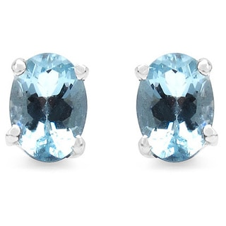 Malaika 1.50 Carat Genuine Aquamarine .925 Sterling Silver Earrings