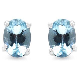 Malaika 1.50 Carat Genuine Aquamarine .925 Sterling Silver Earrings