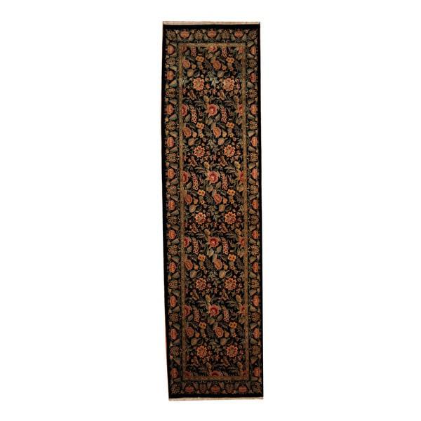 Herat Oriental Indo Hand-knotted Tabriz Black/ Red Wool Rug - 2'8 x 10'1