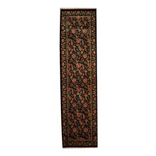 Herat Oriental Indo Hand-knotted Tabriz Black/ Red Wool Rug (2'8 x 10'1)