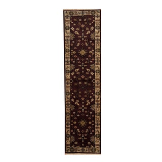 Herat Oriental Indo Hand-knotted Mahal Chocolate Brown/ Beige Wool Rug (2'6 x 9'10)