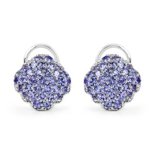 Malaika 3.14 Carat Genuine Tanzanite .925 Sterling Silver Earrings