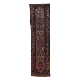 Herat Oriental Afghan Hand-knotted Tribal Balouchi Navy/ Red Wool Rug (2'7 x 10'1)