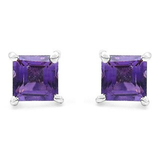 Malaika 0.80 Carat Genuine Amethyst .925 Sterling Silver Earrings