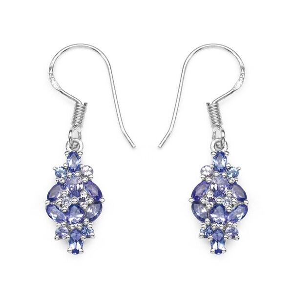 Malaika 2.04 Carat Genuine Tanzanite .925 Sterling Silver Earrings
