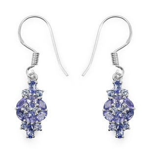 Malaika 2.04 Carat Genuine Tanzanite .925 Sterling Silver Earrings