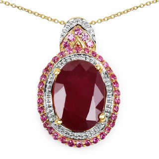 Malaika 14K Yellow Gold Plated 8.87 Carat Genuine Ruby .925 Sterling Silver Pendant
