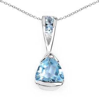 Malaika 0.87 Carat Genuine Blue Topaz .925 Sterling Silver Pendant