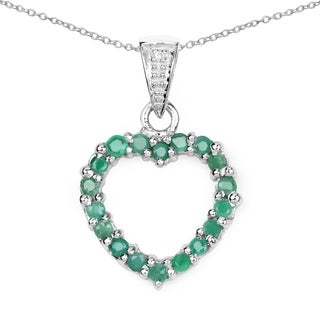 Malaika 0.54 Carat Genuine Emerald & White Diamond .925 Sterling Silver Pendant