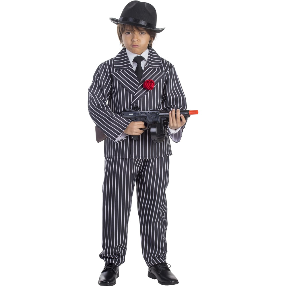 Dress Up America Boys' Striped Gangster Costume (Large 12...