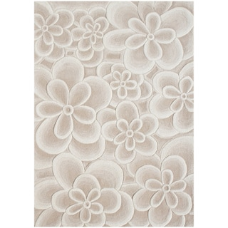 Handmade Alliyah Bleach Tan Flowers New Zealand Blend Wool Rug (8' x 10')