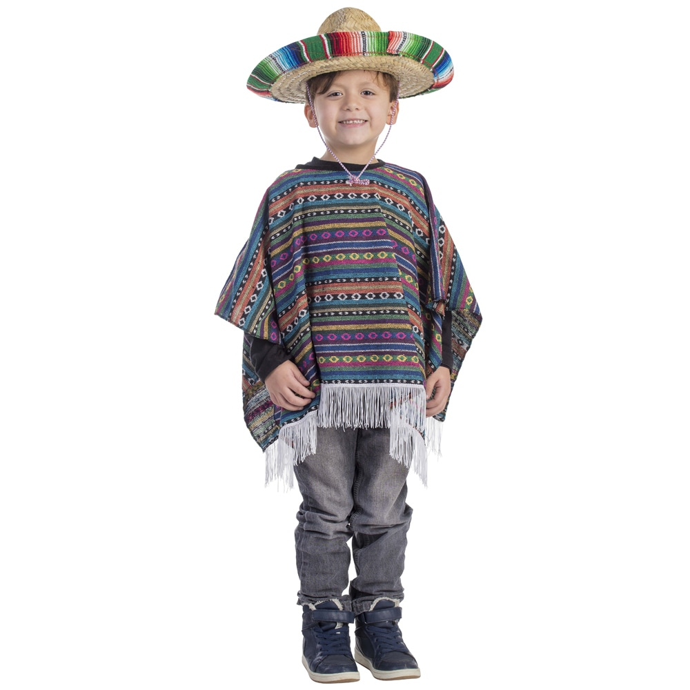 Dress Up America Boys' Mexican Poncho Costume (Large 12-1...