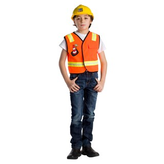 Dress Up America Boys' Construction Worker Role Play Set Costume