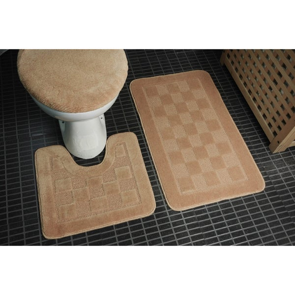 Danity home 3 piece bath set bath mat contour mat lid for Big w bathroom mats