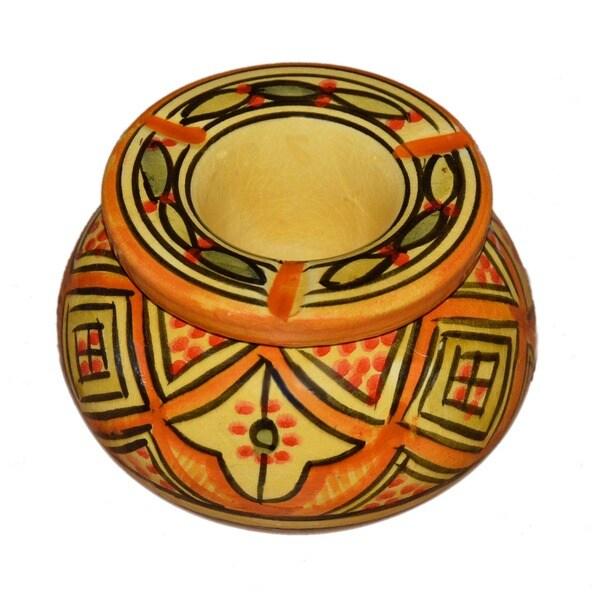 Handmade Lwimina Yellow Ceramic Ashtray (Morocco)
