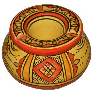 Handmade Berber Yellow Ceramic Ashtray (Morocco)