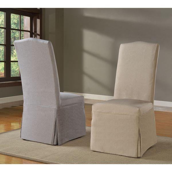 Domusindo Slipcovered Camelback Dining Chair Set Of 2