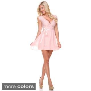 Stanzino Women's Cap Sleeve Surplice Neckline Chiffon Mini Dress