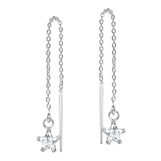 Handmade Cubic Zirconia Star Thread Slide Sterling Silver Earrings (Thailand)